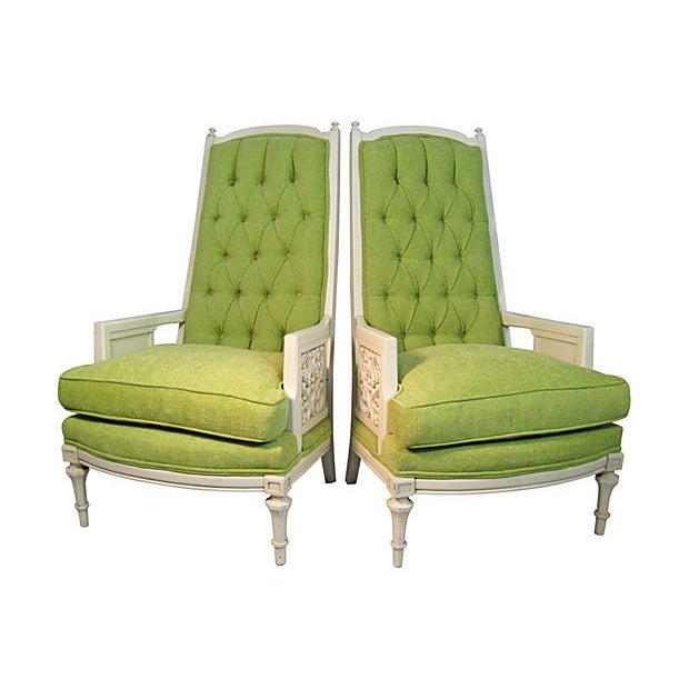 Green High Back Tufted Broyhill Chairs - A Pair - Image 1 of 4