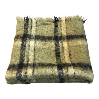 Vintage Irish Green Plaid Wool Mohair Throw