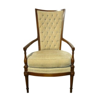 Midcentury Tan Velvet Tufted Back Chair