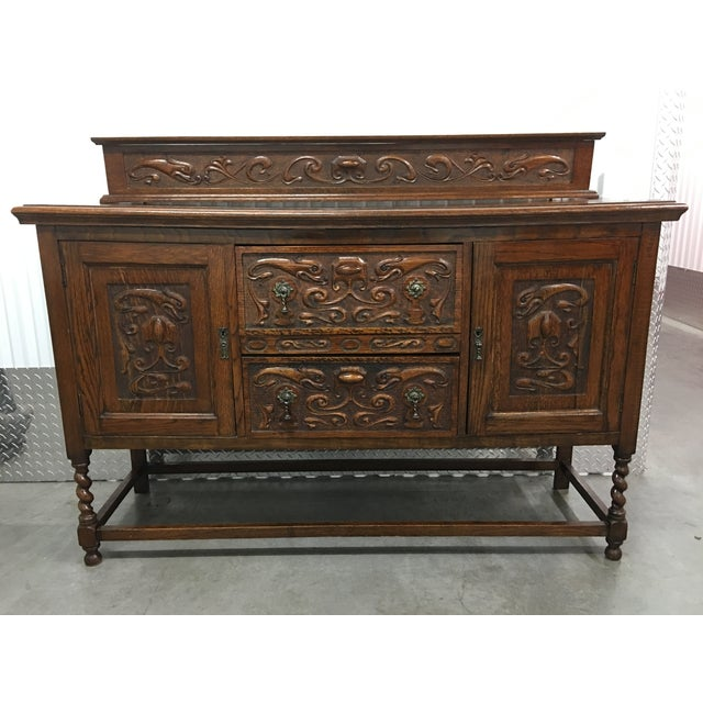 Antique Carved Wood Buffet - Image 3 of 10