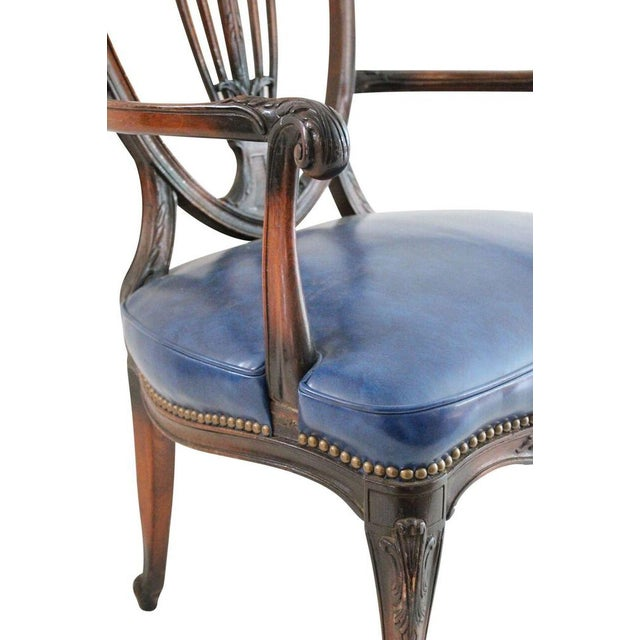 Walnut & Leather French Armchair - Image 4 of 4