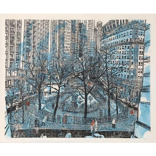 "1968 Ted Davies ""Broadway at Bowling Green"" Print"