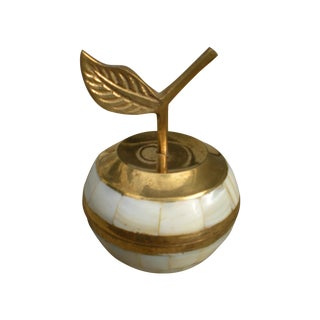 Brass and Mother of Pearl Apple Trinket Box