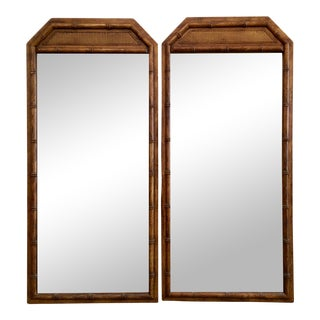 Large Faux Bamboo Mirrors - A Pair