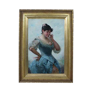 "19th Century ""Lady in a Blue Dress"" French Oil Painting"