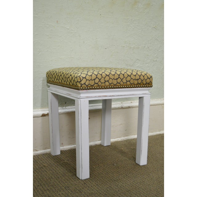 Mid Century Pair of Custom Painted Square Stools Benches - Image 7 of 11