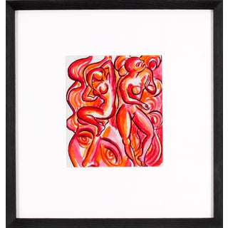 Callahan Abstract Figures in Red Watercolor