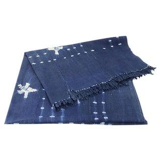 Boho African Indigo Mud Cloth Throw
