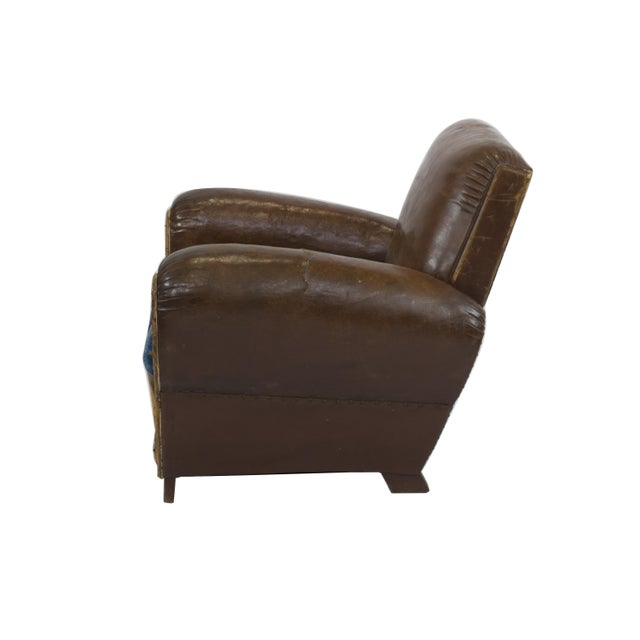 Large 1920's French Leather Club Chairs - Pair - Image 8 of 9