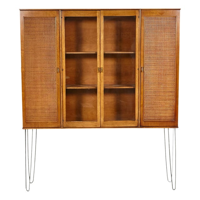 60s Drexel Caned Front Hutch on Hairpin Legs - Image 1 of 8