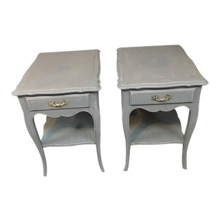 Vintage Grey End Table - A Pair
