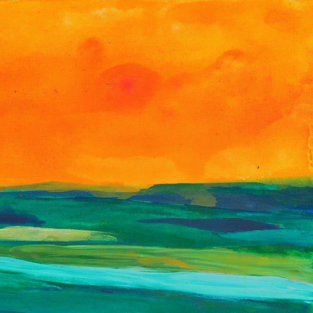Coral & Teal Abstract Sunset by Glenn Lyons - Image 3 of 6
