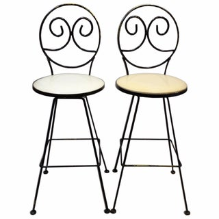 Woodard Scrolled Back Iron Bar Stools - A Pair