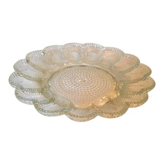 Mid-Century Pressed Glass Clear Deviled Egg Serving Dish