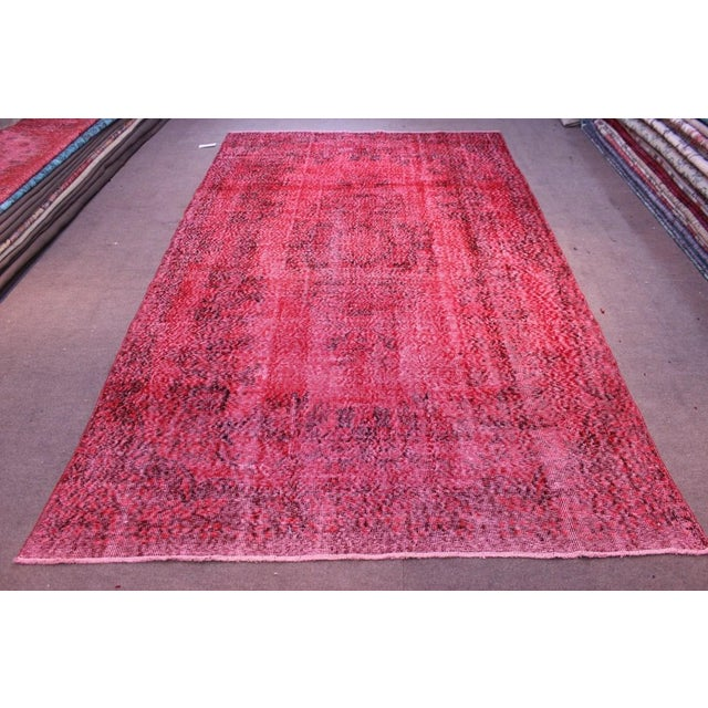 "Vintage Turkish Red Overdyed Rug - 6'2"" X 10'3"" - Image 2 of 8"