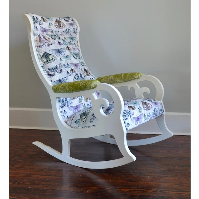 Upholstered Wood Rocking Chair in Antique White With Moth Print Velvet - Image 2 of 6