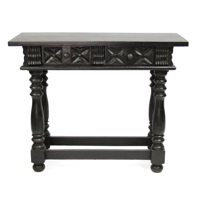 Image of Spanish Carved 2-Drawer Console/End Table