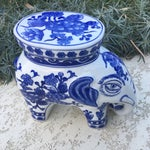 Image of Blue & White Chinoiserie Ceramic Elephant Stand