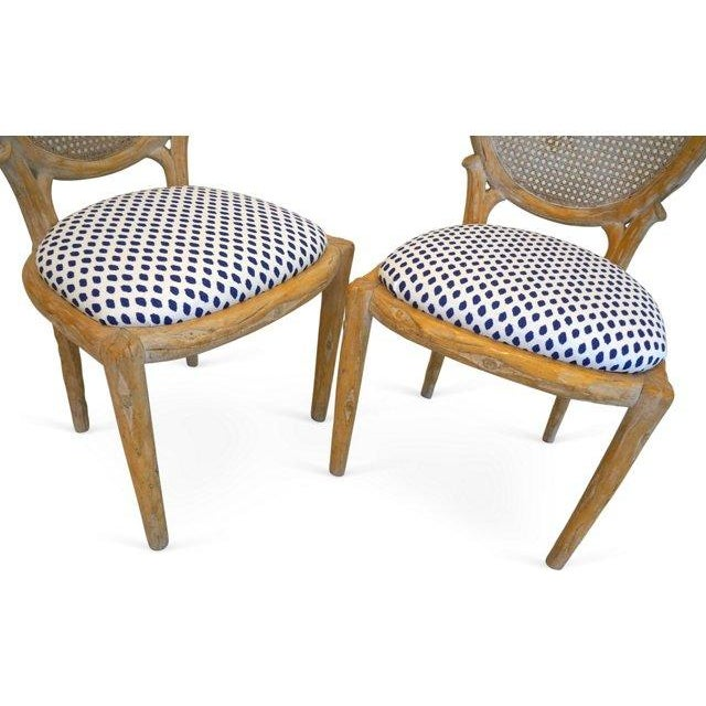 Vintage Faux Bois & Cane Dining Chairs - Set of 4 - Image 6 of 6