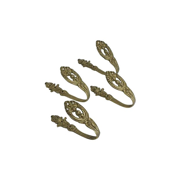 Image of French Brass Ornate Curtain Tiebacks - Set of 4