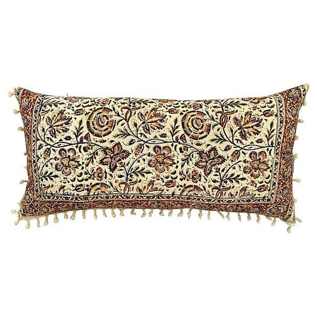 Hand-Blocked Indian Fringed Body Pillow - Image 2 of 5