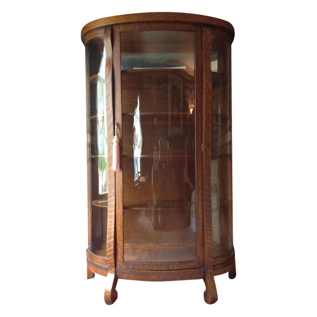 Antique Tiger Oak Curved-Glass China Cabinet - Image 1 of 9