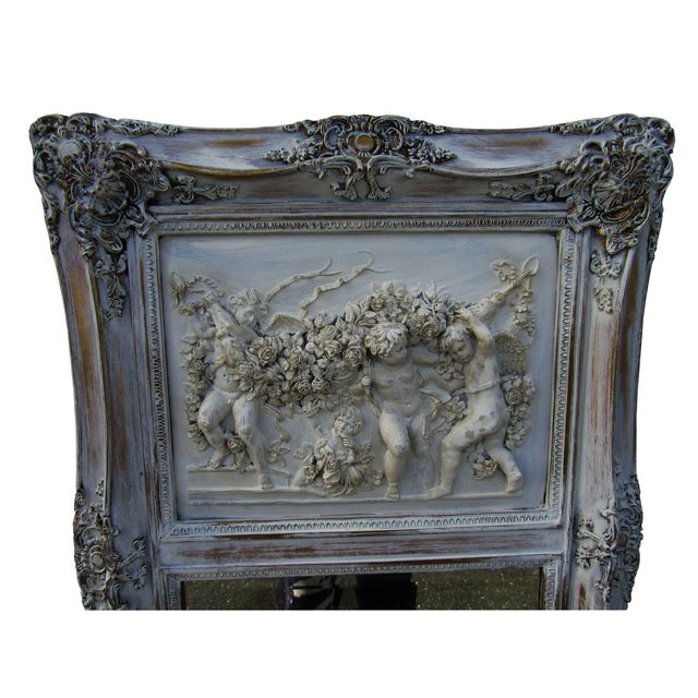 French Style Putti Trumeau Mirror - Image 3 of 9