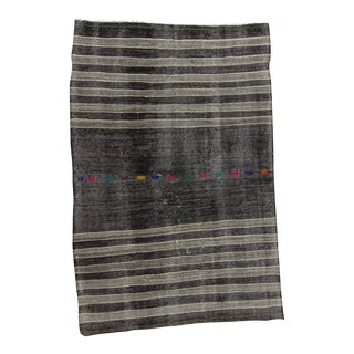 Vintage Turkish Kilim Black & Grey Striped Hand Woven Goat Hair Rug - 7′1″ × 10′10″