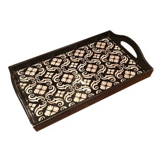 Black and White Floral Motif Tray