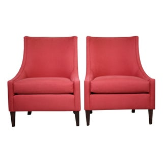 Modern Slipcovered Wingback Chairs in Cerise