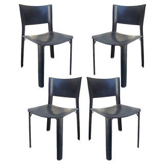 Black Leather Dining Chairs - Set of 4