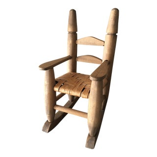 Miniature Wooden Cane-Seated Ladderback Rocking Chair