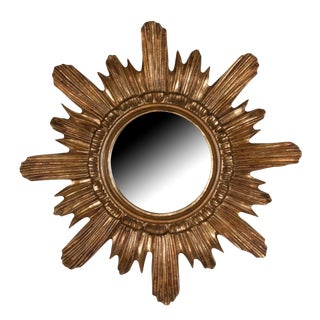 Sculpted Sunburst Gold Painted Wall Mirror