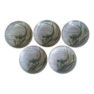 Vintage Mid-Century Modern Occupied Japan Irises Ceramic Plate Bowls - 5pc Set