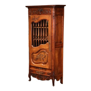 19th Century French Hand-Carved Walnut 1 Door Cabinet From Provence