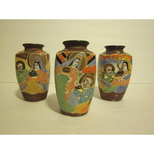 Vintage Japanese Satsuma Vases - Set of 3 - Image 2 of 10