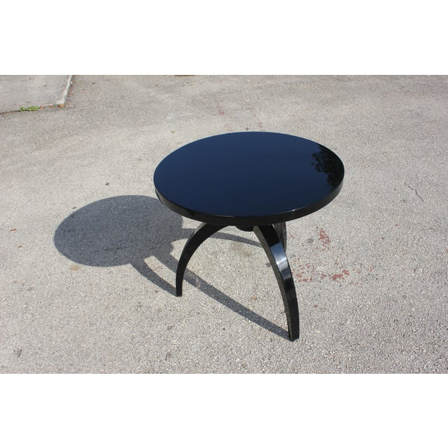 French Art Deco Black Lacquer ''Spider Leg'' Side Table - Image 3 of 10