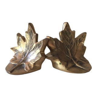 Brass Leaf Bookends