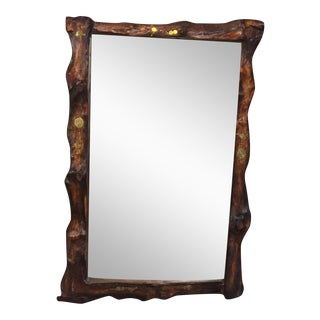 African Hand-Crafted Live Edge Wood Mirror