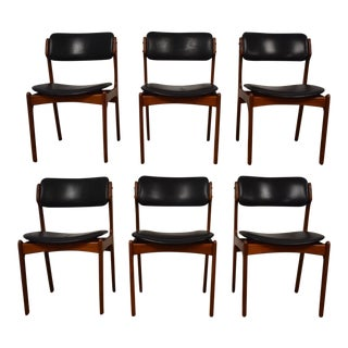 Erik Buch Teak & Leather Dining Chairs - Set of 6