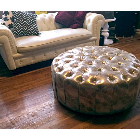 Glimmering Gold Tufted Ottoman - Image 3 of 4