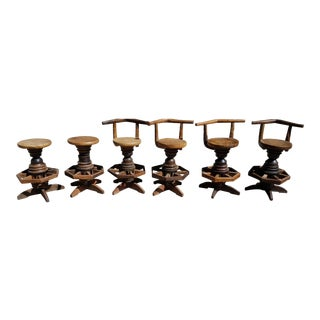 Unique Solid Rustic Wood Barstools - Set of 6