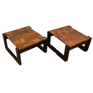 Percival Lafer Copper End Tables - A Pair