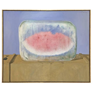"""Watermelon on Ice"" Oil Painting on Canvas by Julio Larraz"
