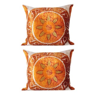 Rare Vintage Velvet Suzani Pillows - A Pair