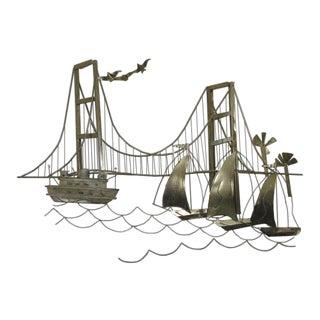 Curtis Jere Style Golden Gate Bridge Wall Sculpture