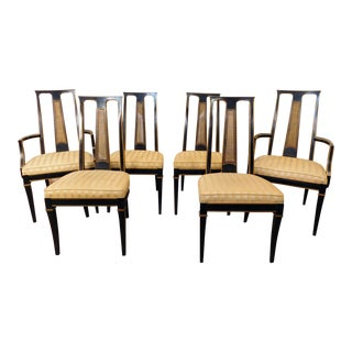 1980s Drexel Heritage Et Cetera Asian Style Black Lacquered Dining Room Chairs- Set of 6