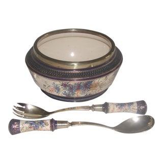 19th Century English Signed Porcelain Silver Salad Set - S/3