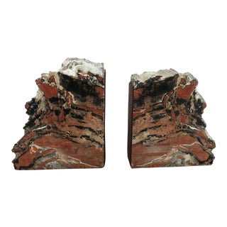 Vintage Petrified Wood Bookends - A Pair