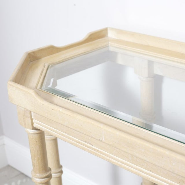Faux Bamboo Console With Beveled Glass Top - Image 4 of 5